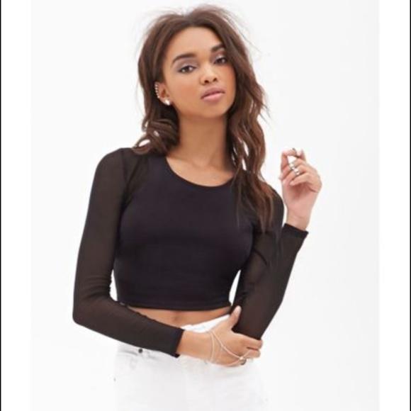 a5f147493cc Forever 21 Tops   Womens Black Meshpaneled Crop Top   Poshmark